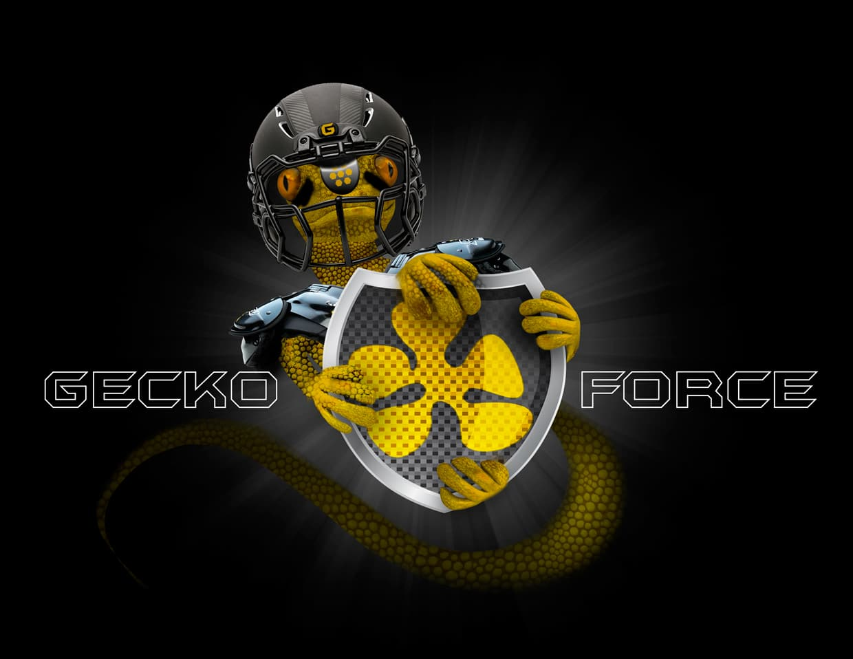 Geck Force Logo Brand and Official Mascot with demo helmet, Mr. Gecko!